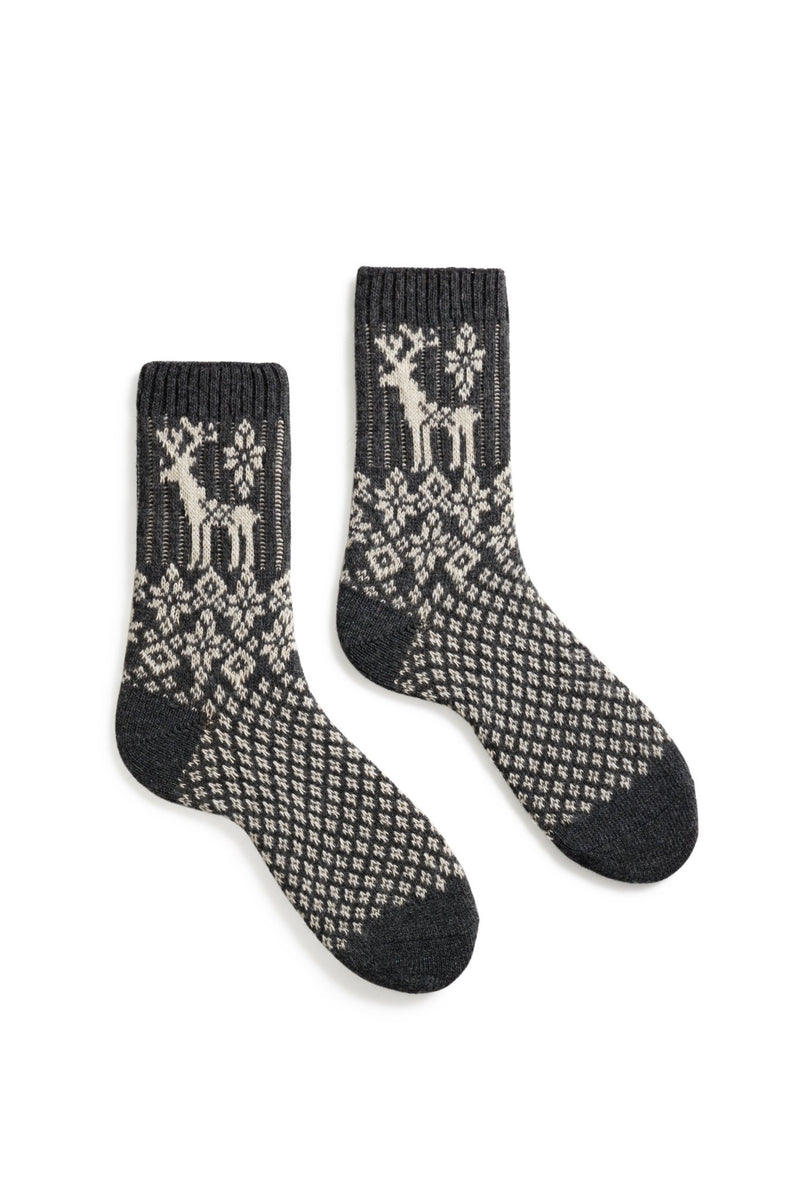 women's charcoal reindeer wool cashmere crew socks