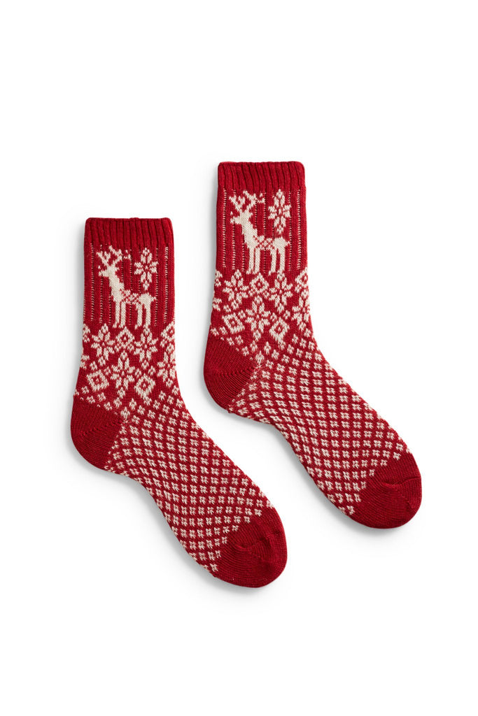 women's red reindeer wool + cashmere crew length socks