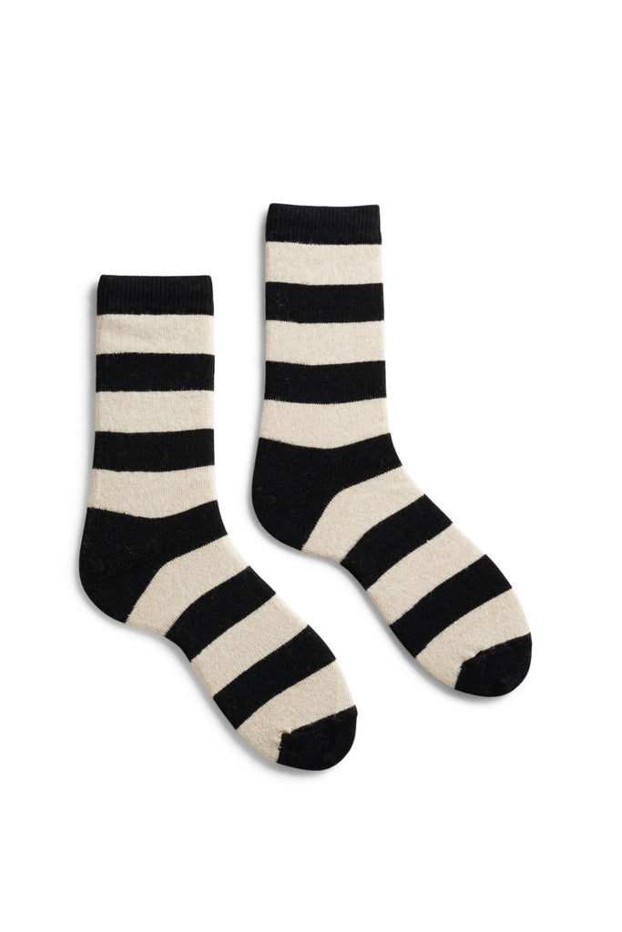 women's black rugby stripe wool + cashmere crew length socks