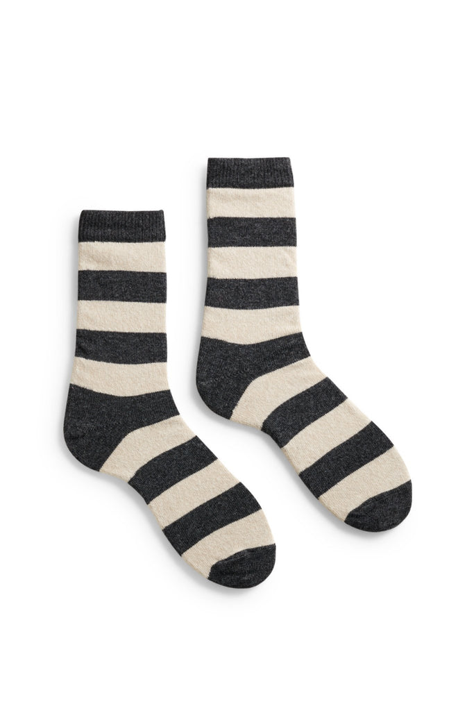 women's charcoal rugby stripe wool + cashmere crew length socks