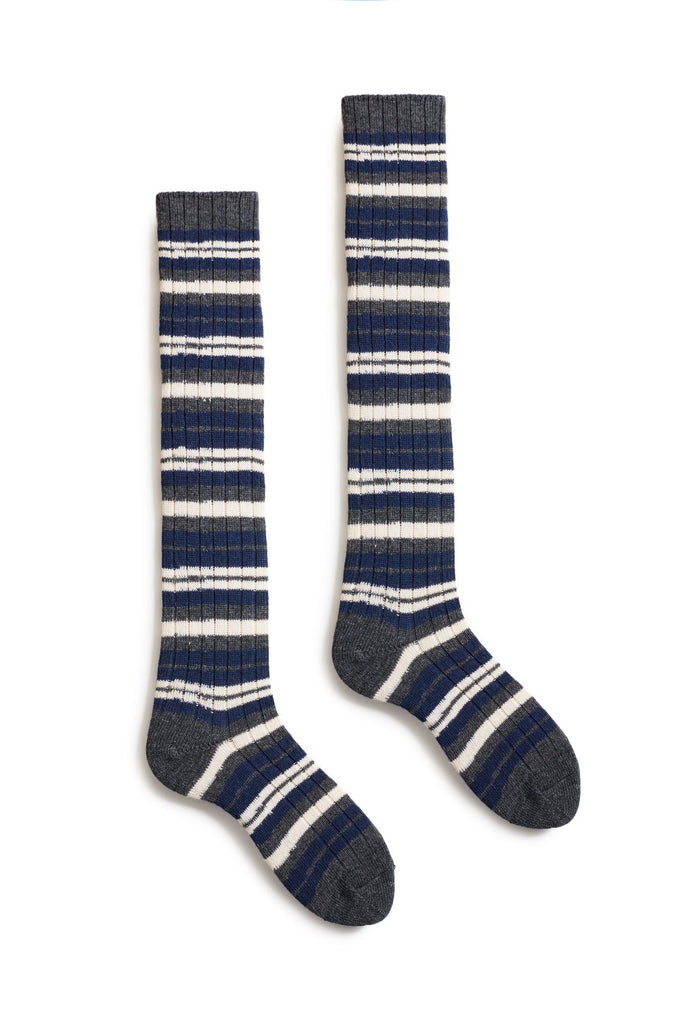 bright navy women's striped rib wool cashmere knee high socks
