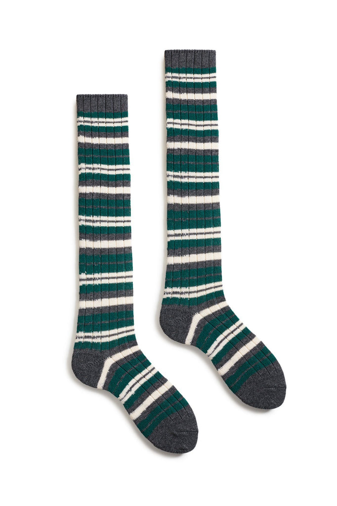 emerald women's striped rib wool cashmere knee high length socks