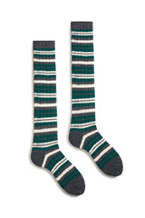 emerald women's striped rib wool cashmere knee high socks