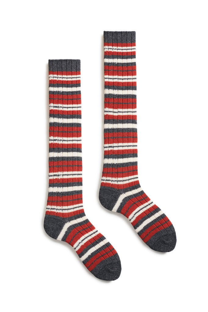 spice women's striped rib wool cashmere knee high length socks
