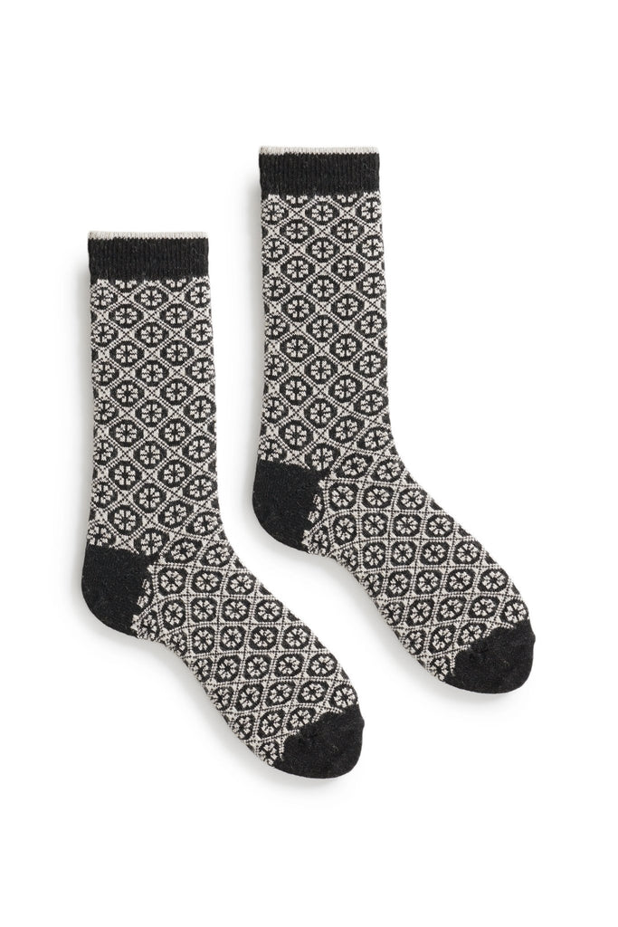 black women's medallion wool cashmere crew socks