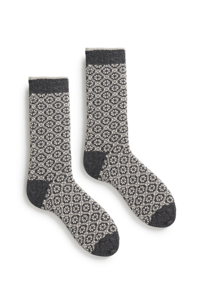 charcoal women's medallion wool cashmere crew socks