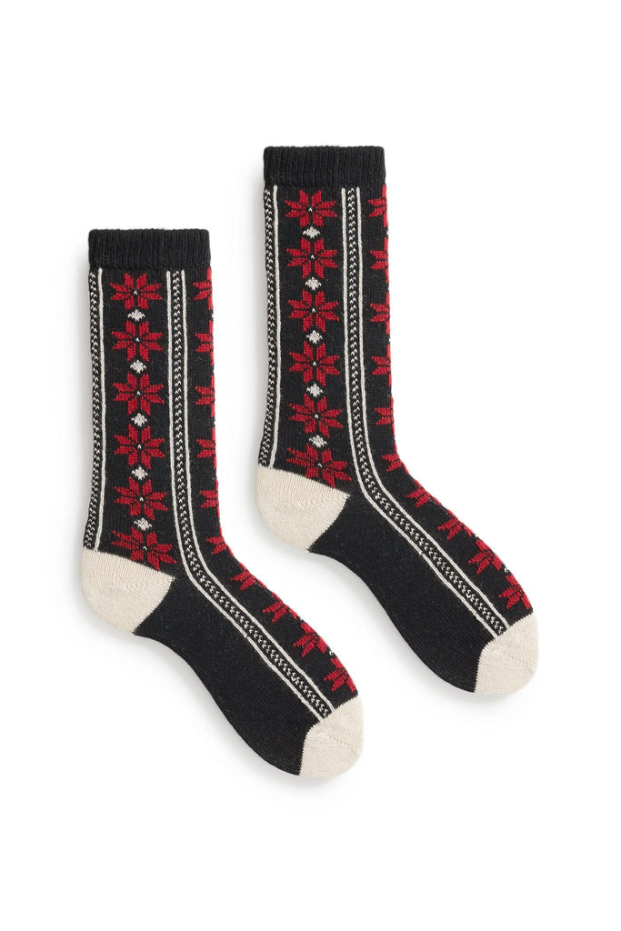 women's poinsettia wool cashmere crew socks black