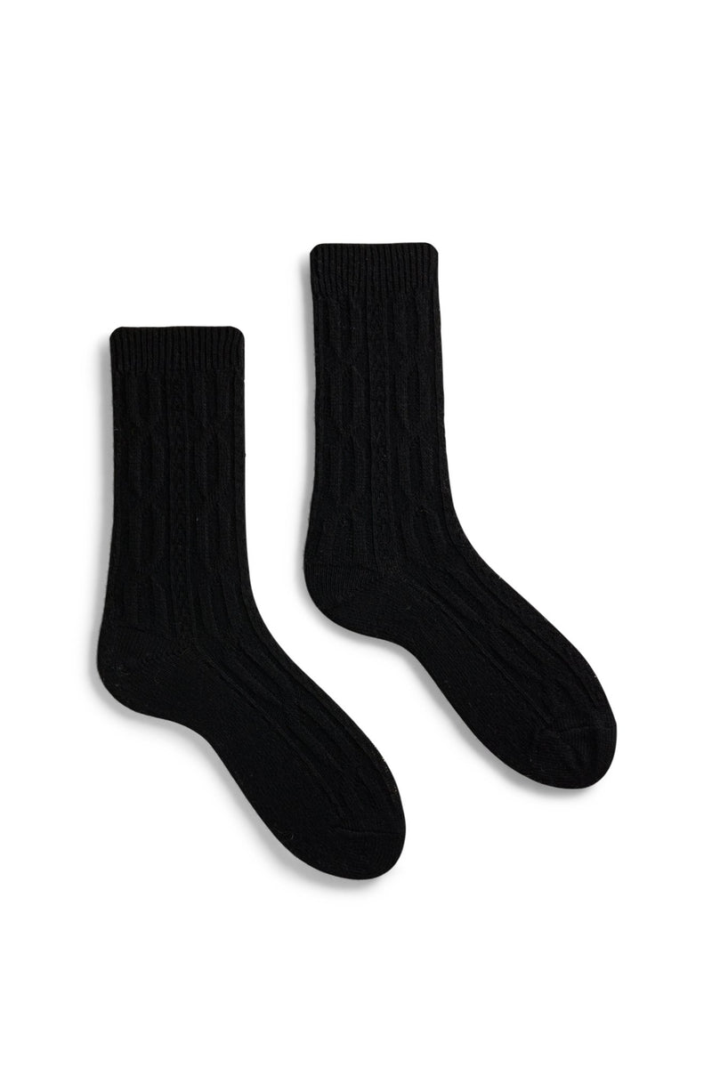 women's black chunky cable wool cashmere crew length socks
