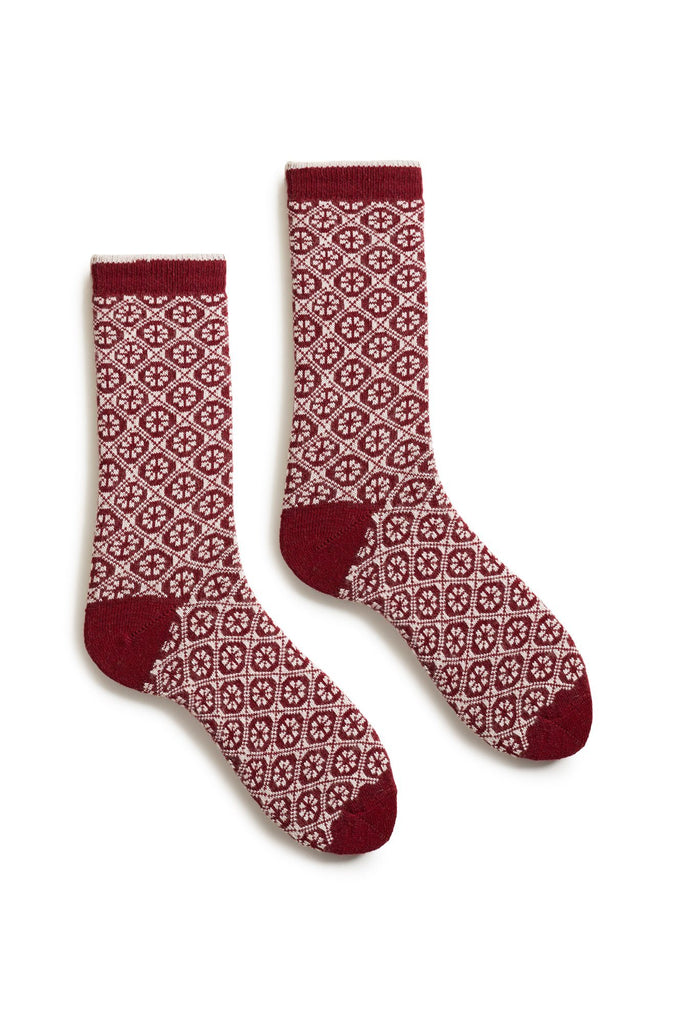 sumac women's medallion wool cashmere crew socks