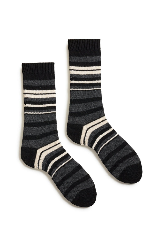 black women's new stripe wool cashmere crew socks
