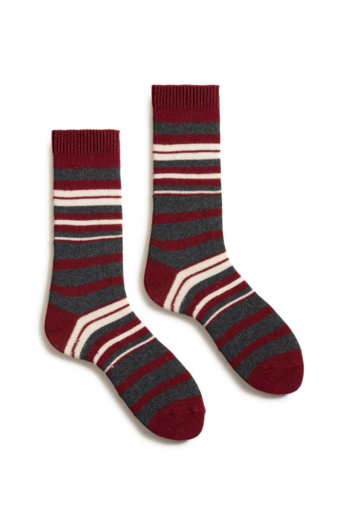sumac women's new stripe wool cashmere crew socks