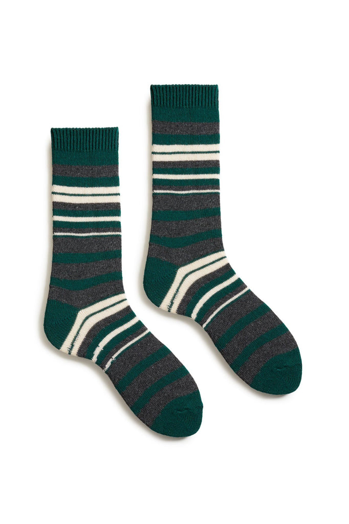 emerald women's new stripe wool cashmere crew socks