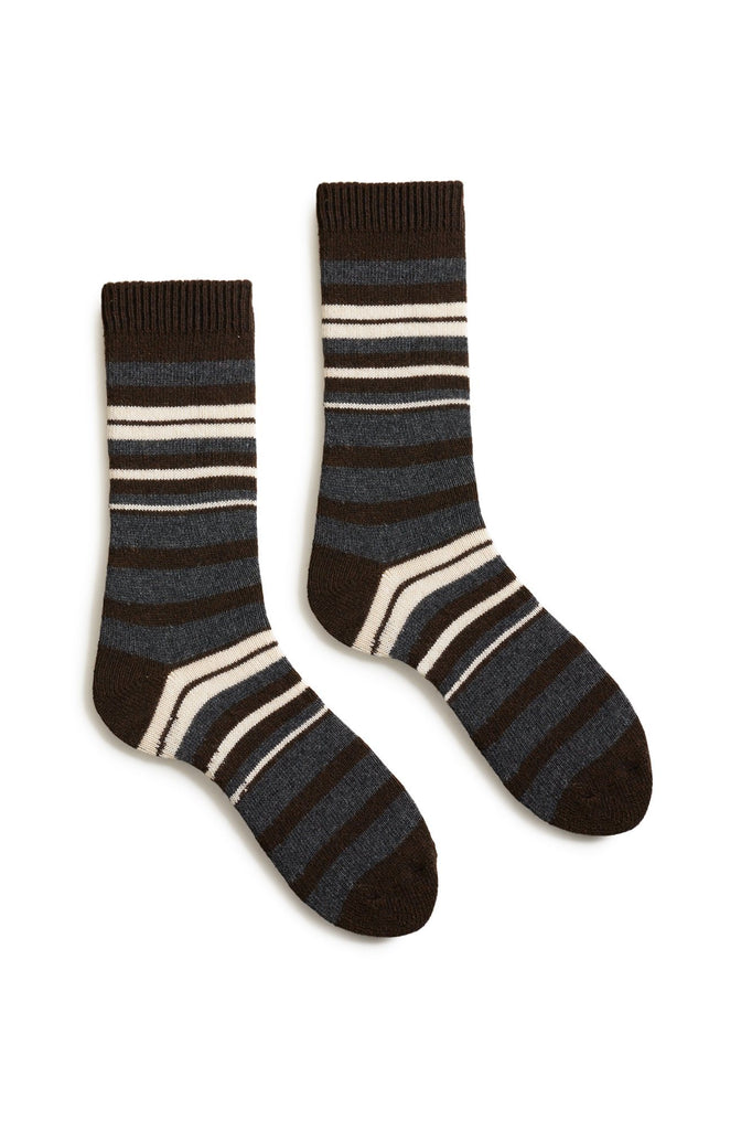 espresso women's new stripe wool cashmere crew socks