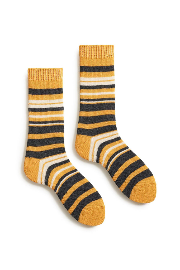 yellow women's new stripe wool cashmere crew socks
