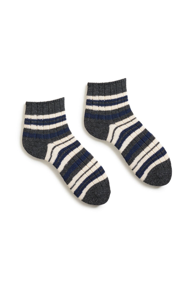bright navy women's striped rib wool cashmere shortie socks