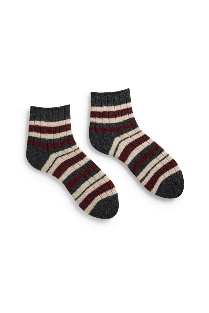 sumac women's striped rib wool cashmere shortie socks
