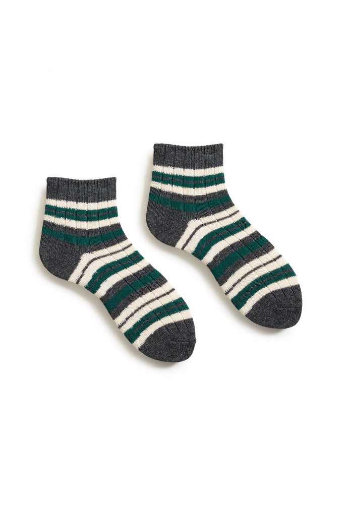 emerald women's striped rib wool cashmere shortie socks