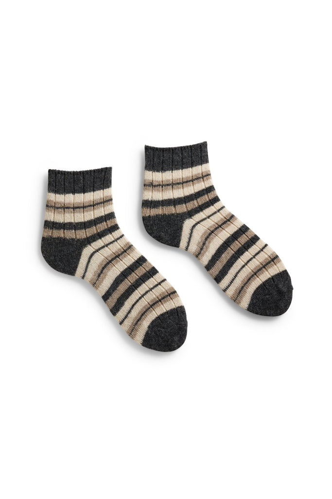 mushroom women's striped rib wool cashmere shortie socks