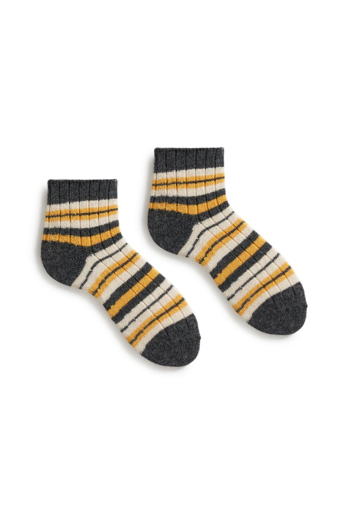 yellow women's striped rib wool cashmere shortie socks