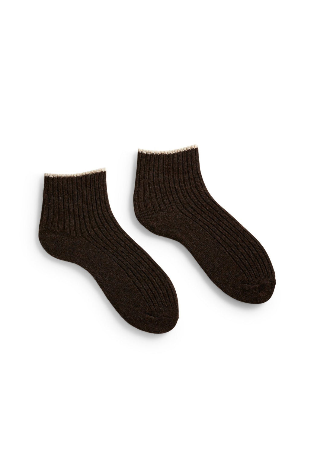 women's tipped rib wool + cashmere shortie length socks espresso