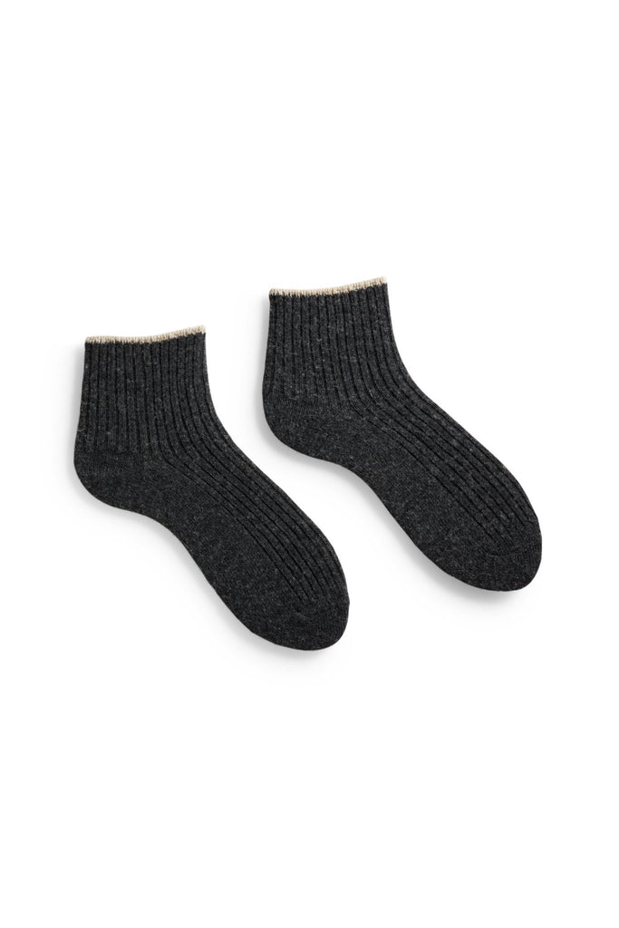 charcoal women's tipped rib wool cashmere shortie socks
