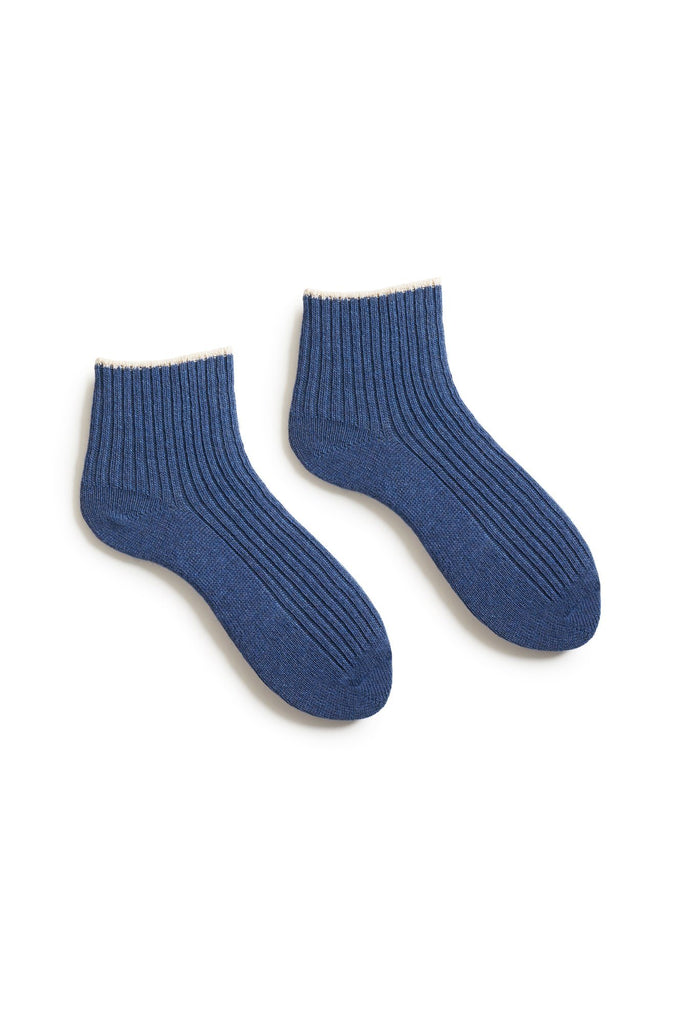 denim blue women's tipped rib wool cashmere shortie socks