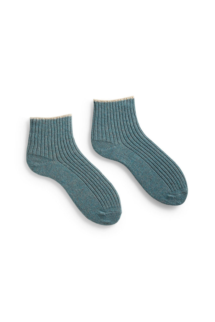 mineral blue women's tipped rib wool cashmere shortie socks