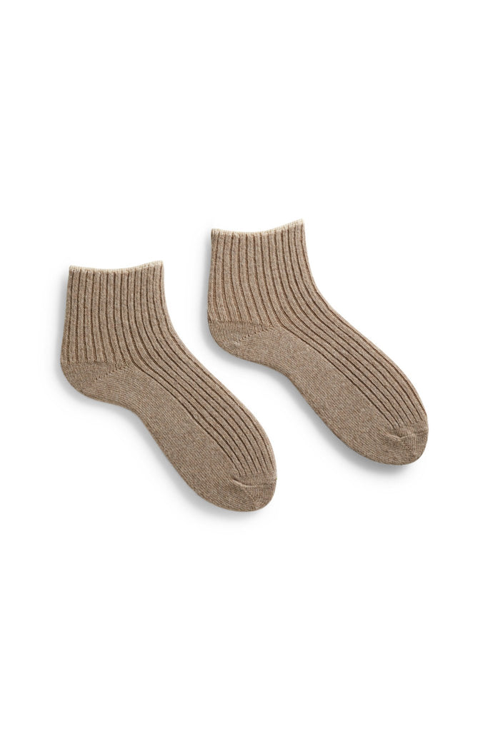 women's tipped rib wool + cashmere ankle length socks in mushroom