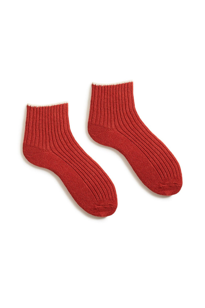 spice women's tipped rib wool cashmere shortie socks
