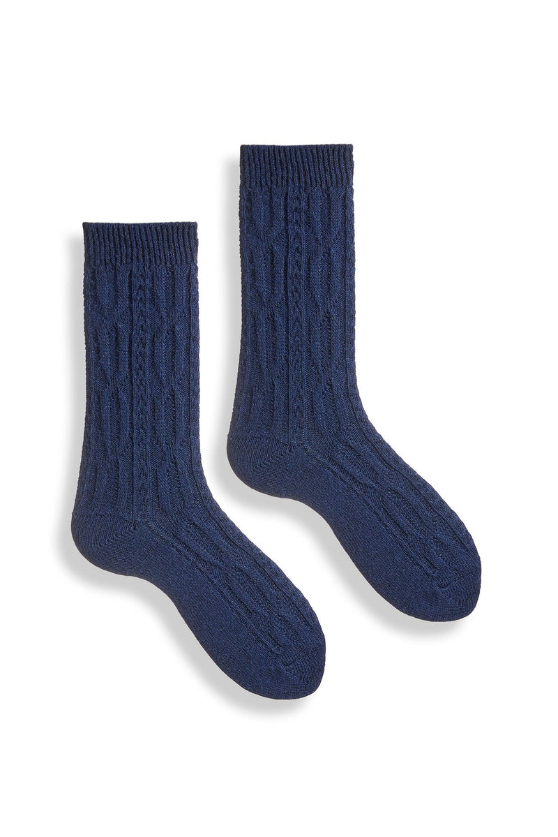 women's navy chunky cable wool cashmere crew length socks