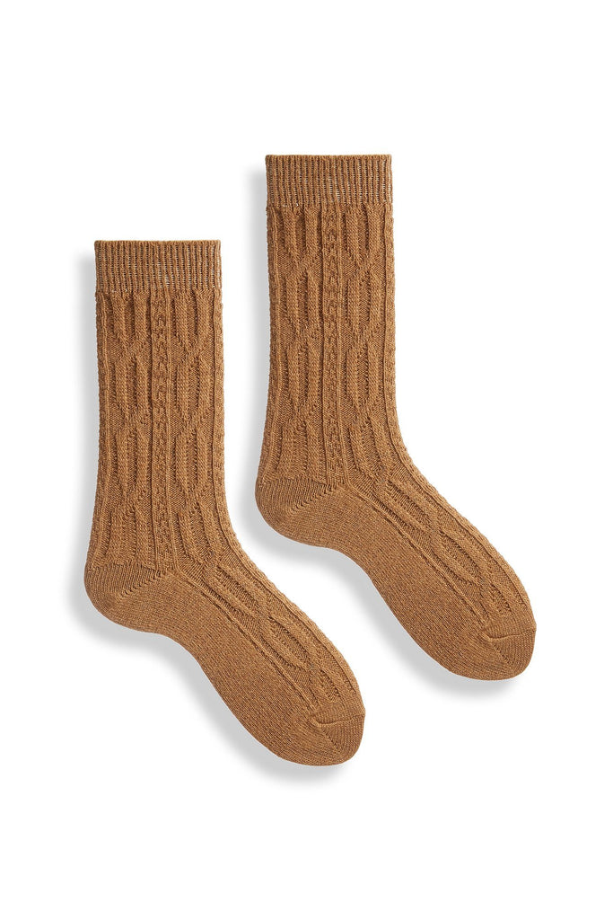 women's cable chunky cable wool cashmere crew length socks