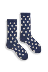 women's navy classic dot wool and cashmere crew length socks