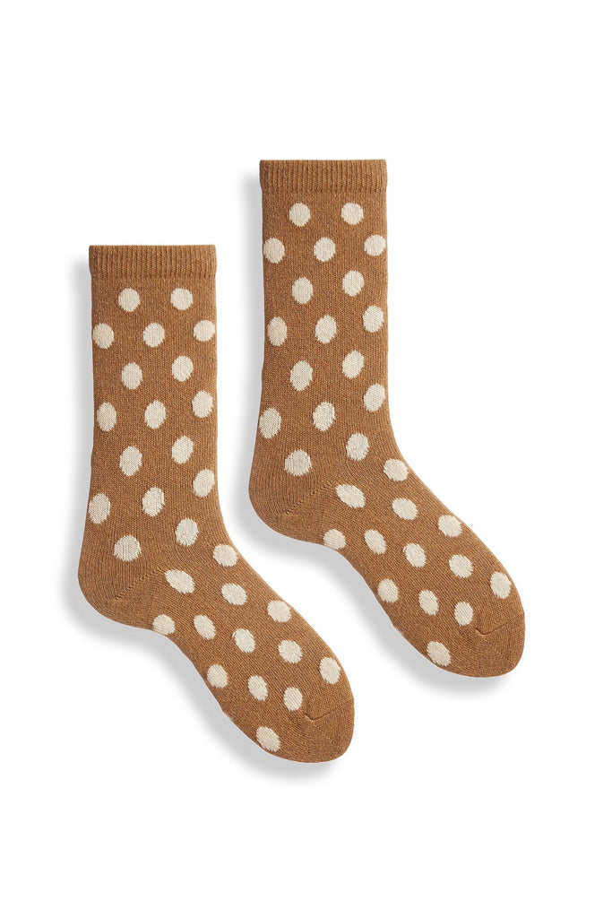 women's camel classic dot wool and cashmere crew length socks