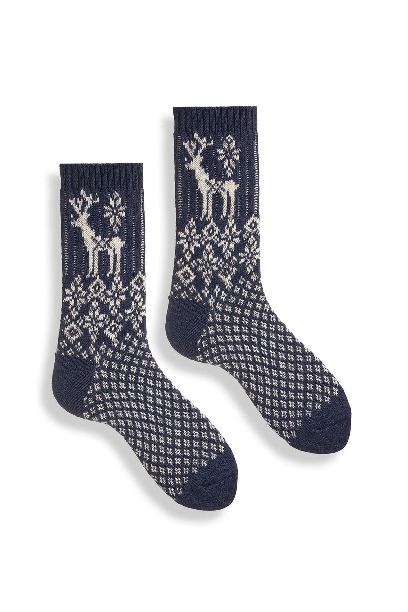 women's navy reindeer wool cashmere crew socks