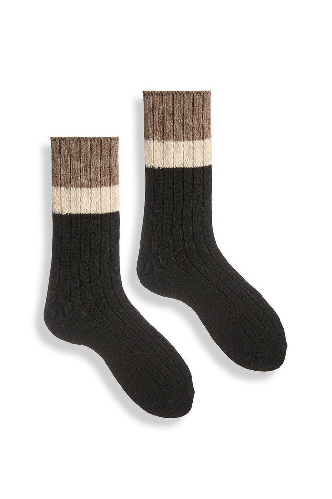 black women's ribbed colorblock wool cashmere crew socks
