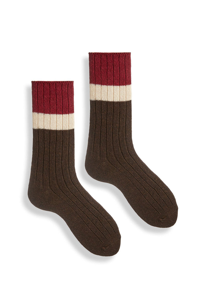 espresso women's ribbed colorblock wool cashmere crew socks