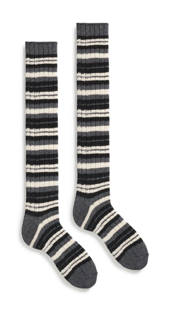 women's striped rib wool cashmere knee high length socks black
