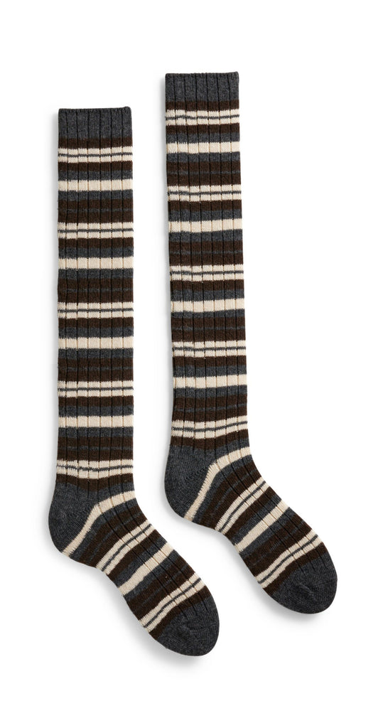 women's striped rib wool cashmere knee high length socks espresso