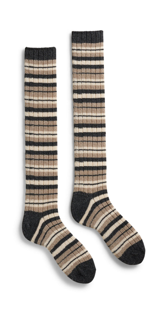 women's striped rib wool cashmere knee high length socks mushroom