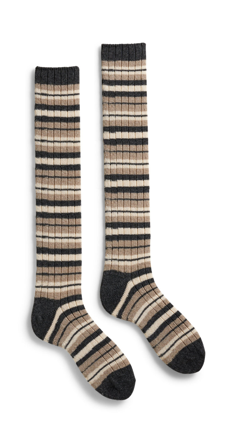 women's striped rib wool cashmere knee high socks mushroom