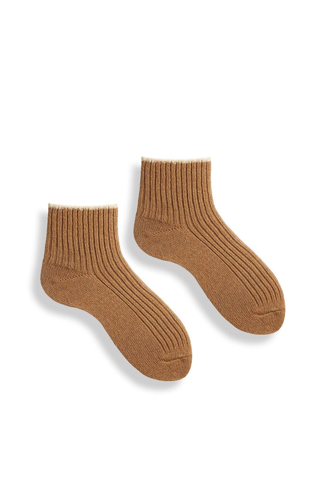 camel women's tipped rib wool cashmere shortie socks
