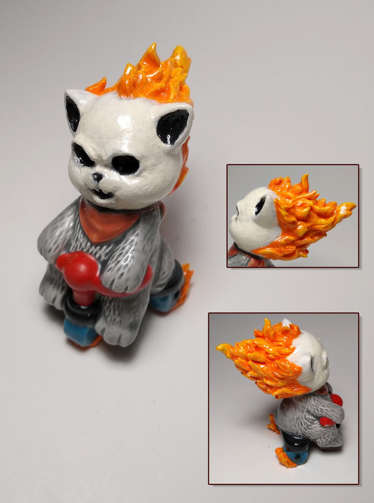 photo of found object sculpture named ghost rider kitty