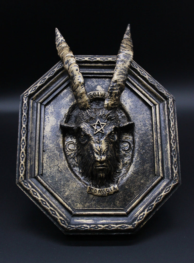 photo of one of a kind sculpture called gold baphomet