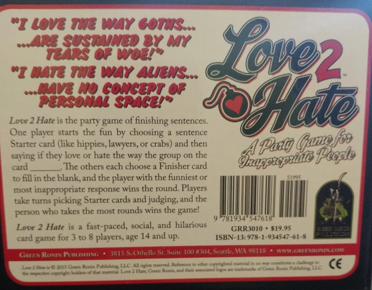 Love 2 Hate – a party game for inappropriate people, Used, Complete