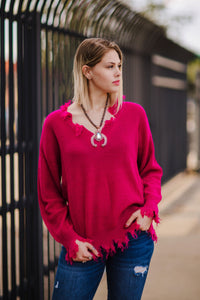 Destructed Sweater (Hot Berry)