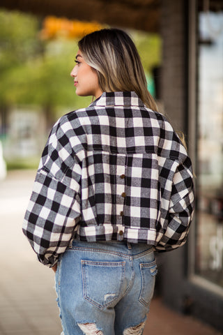 Buffalo Plaid Crop Jacket