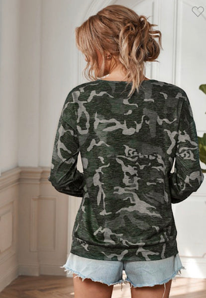 Looped Front Camouflage Top