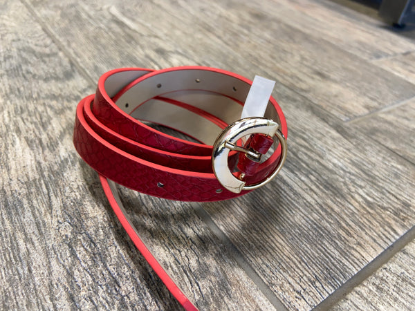 Red Snakeskin Circle Buckle Belt