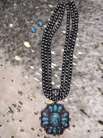 Large Turquoise Stone Blossom Necklace