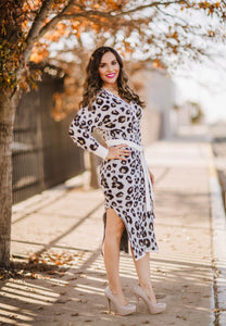 Fuzzy Leopard Sweater Dress